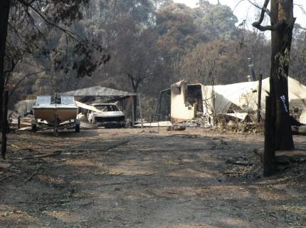 Fire damage along National Park Road, Kinglake West.